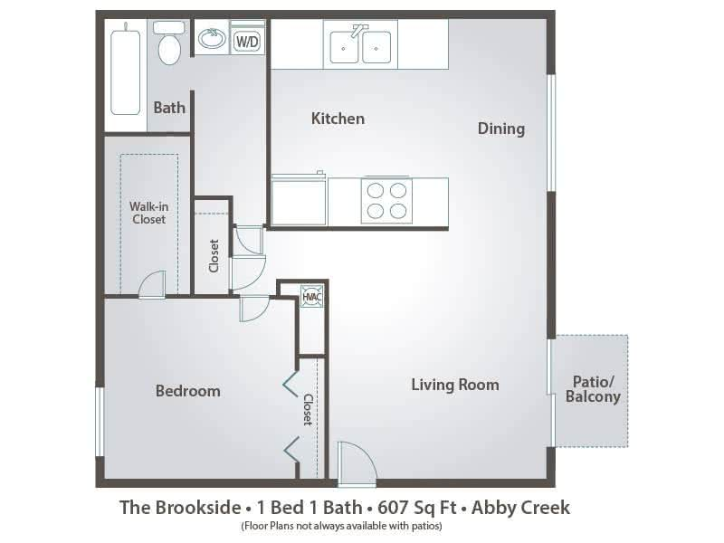 2D | The Brookside contains 1 bedroom and 1 bathroom in 607 square feet of living space.