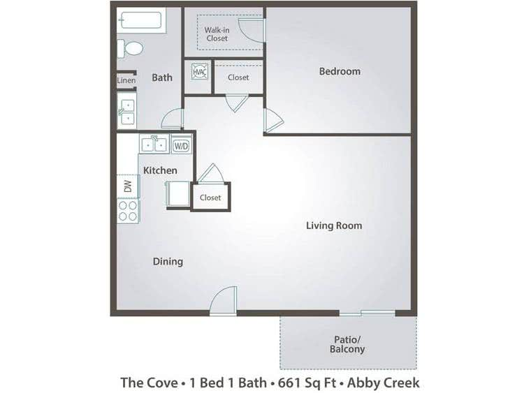 2D | The Cove contains 1 bedroom and 1 bathroom in 661 square feet of living space.