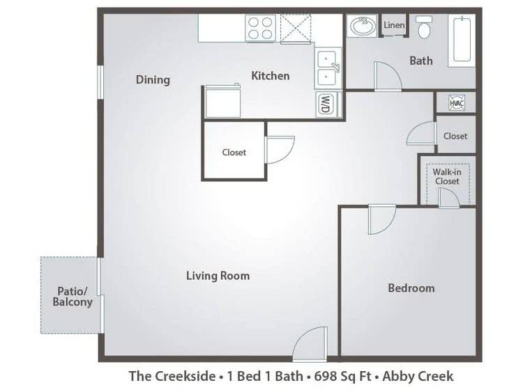 2D | The Creekside contains 1 bedroom and 1 bathroom in 698 square feet of living space.