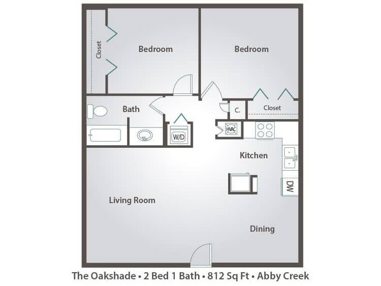 2D   The Oakshade contains 2 bedrooms and 1 bathrooms in 812 square feet of  living. 2 Bedroom Apartment Floor Plans   Pricing   Abby Creek  Carmichael CA