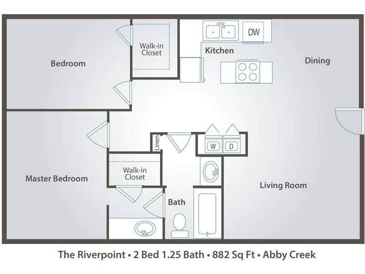 2D |  The Riverpoint contains 2 bedrooms and 1.25 bathrooms in 882 square feet of living space.