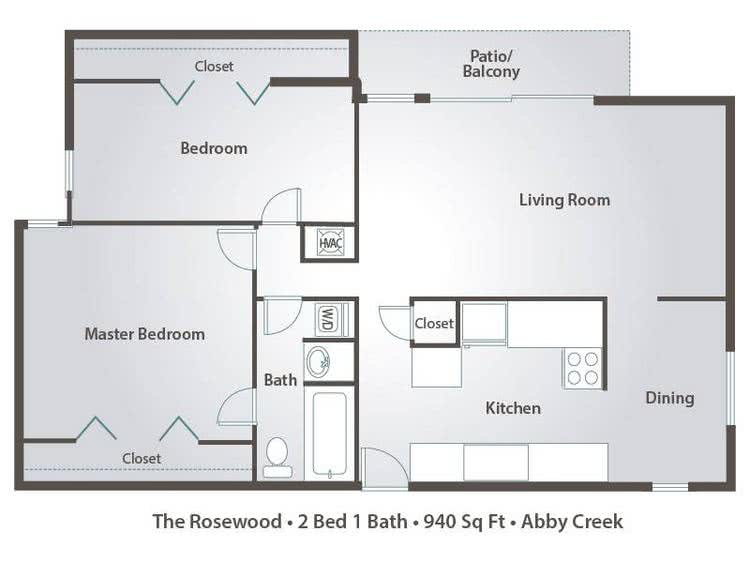 2D | The Rosewood contains 2 bedrooms and 1 bathrooms in 940 square feet of living space.
