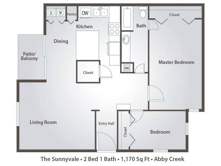 2D | The Sunnyvale contains 2 bedrooms and 1 bathrooms in 1170 square feet of living space.