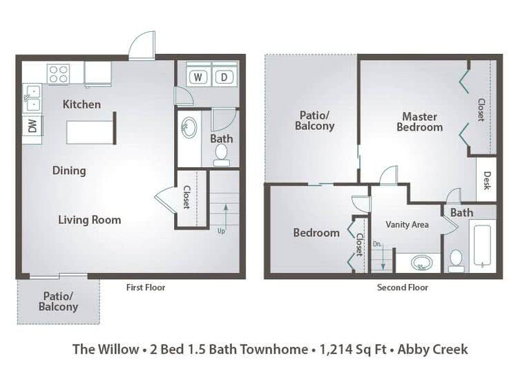 2D | The Willow contains 2 bedrooms and 1.5 bathrooms in 1214 square feet of living space.