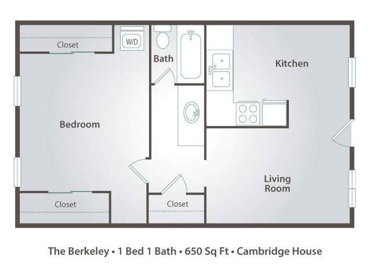 2D | The Berkeley contains 1 bedroom and 1 bathroom in 650 square feet of living space.