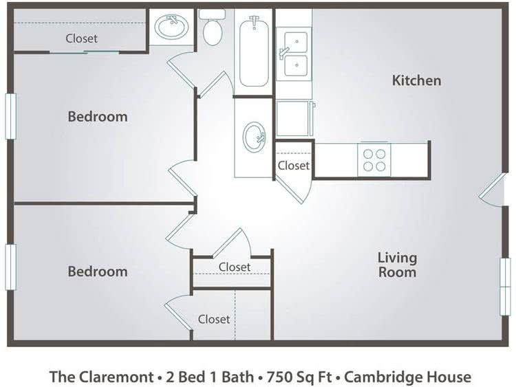 2D | The Claremont contains 2 bedrooms and 1 bathrooms in 750 square feet of living space.