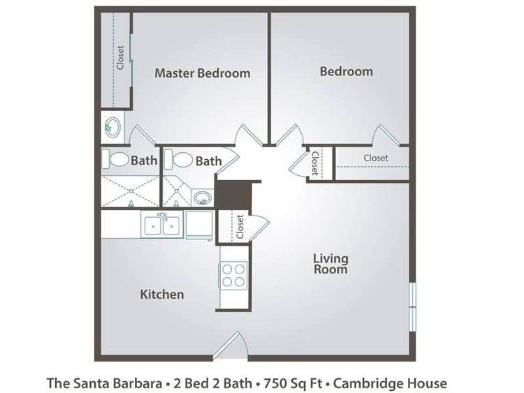 2D | The Santa Barbara contains 2 bedrooms and 2 bathrooms in 750 square feet of living space.