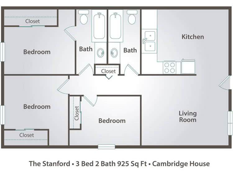 2D | The Stanford contains 3 bedrooms and 2 bathrooms in 925 square feet of living space.