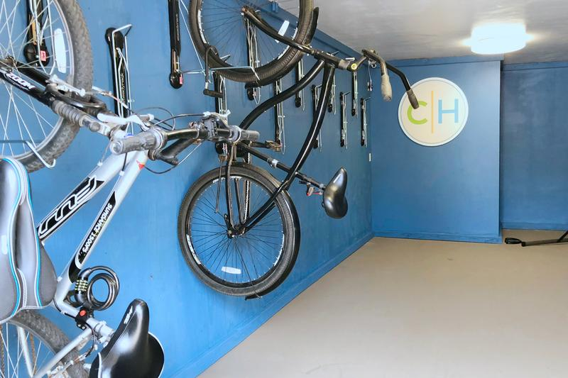 Reserved Bike Storage | Keep your bike protected with 24-hour surveillance and a unique access code for entry. No more worrying about finding an available space as you will be assigned your own wall mount for your bike. Lastly, you will have access to our bike repair station to keep your ride in tip top shape. (Available for only $10 a month!)