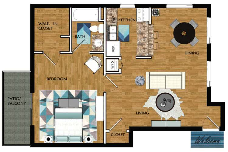 2D | Magnolia contains 1 bedroom and 1 bathroom in 750 square feet of living space.