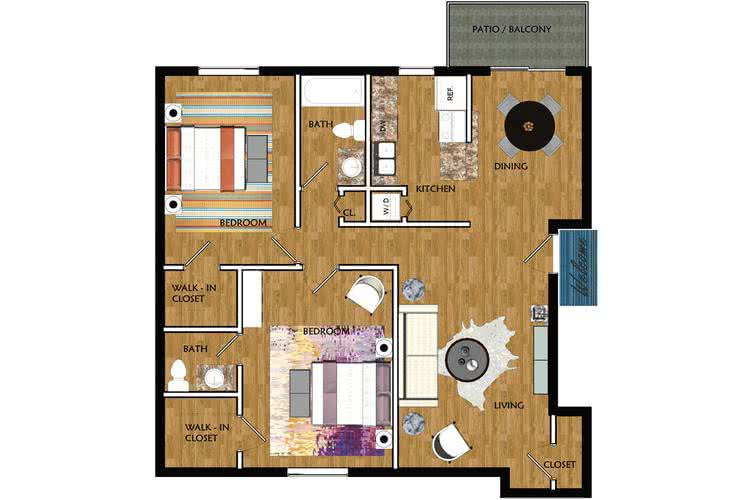 2D | Poplar contains 2 bedrooms and 1.5 bathrooms in 1000 square feet of living space.