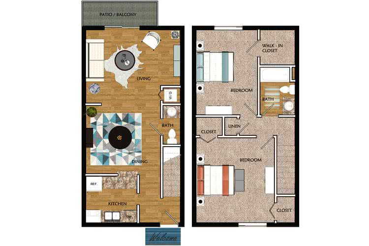 2D | Redbay Townhome contains 2 bedrooms and 1.5 bathrooms in 1050 square feet of living space.