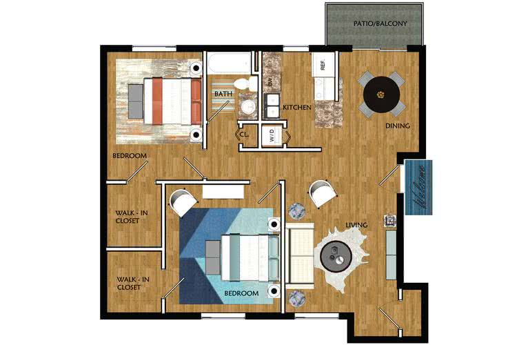 2D | Tupelo contains 2 bedrooms and 1 bathrooms in 950 square feet of living space.