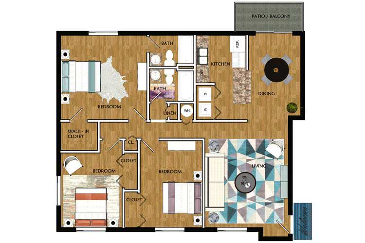 2D | Willow contains 3 bedrooms and 2 bathrooms in 1185 square feet of living space.