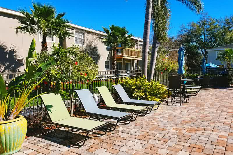 Poolside Loungers | Relax poolside on our sundeck, complete with loungers!