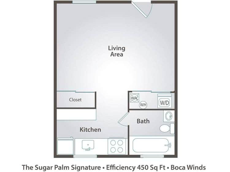 2D | The Sugar Palm is a studio with 450 square feet of living space.