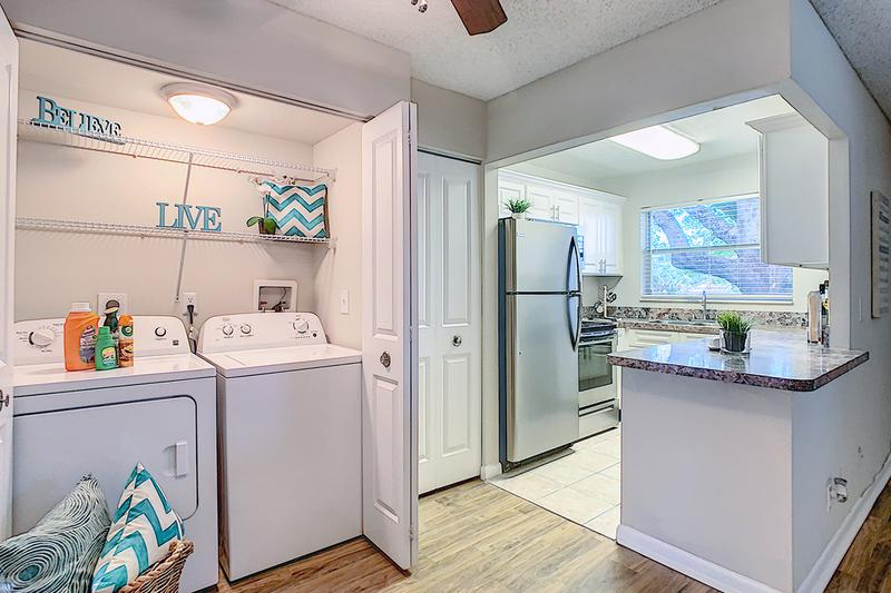Laundry | Many of our apartment homes feature full size washer & dryer appliances. We also have a community laundry room!