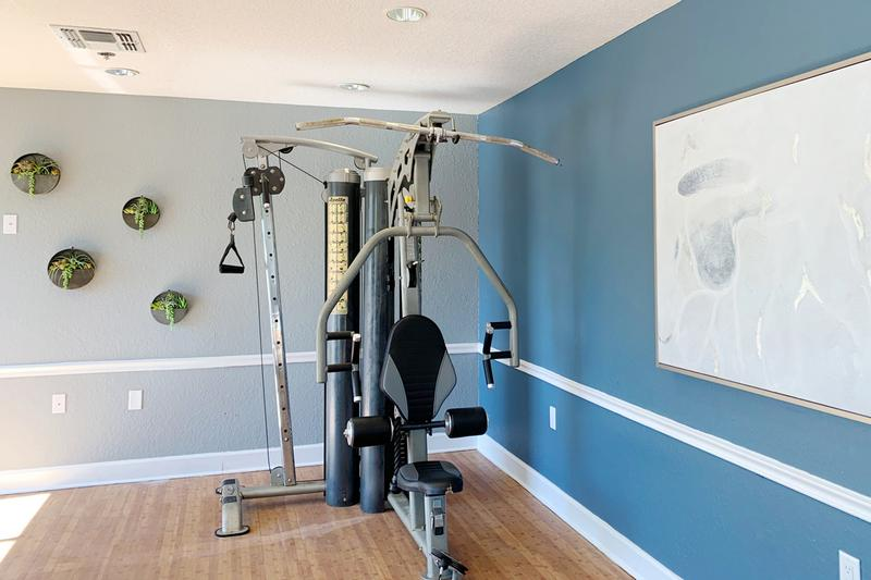 Fitness Center | Fitness center with cardio and weight training equipment.
