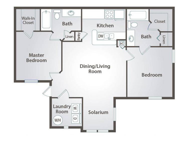 2D | The Hampshire contains 2 bedrooms and 2 bathrooms in 975 square feet of living space.