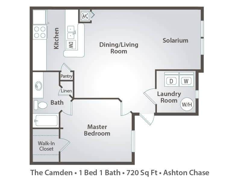 2D | The Camden contains 1 bedroom and 1 bathroom in 720 square feet of living space.