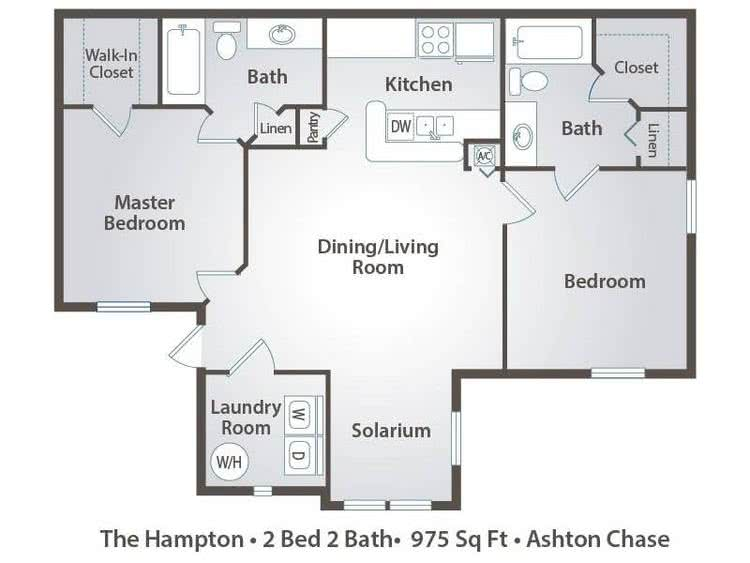 2D | The Hampton contains 2 bedrooms and 2 bathrooms in 975 square feet of living space.
