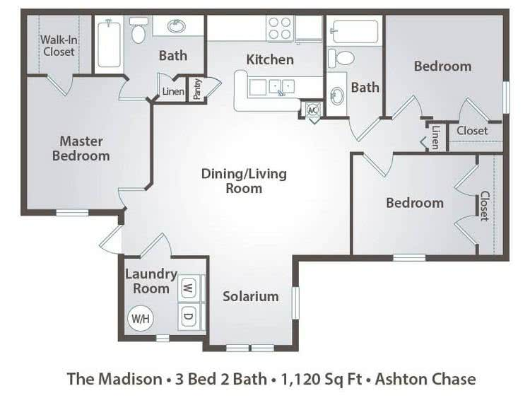 2D | The Madison contains 3 bedrooms and 2 bathrooms in 1120 square feet of living space.