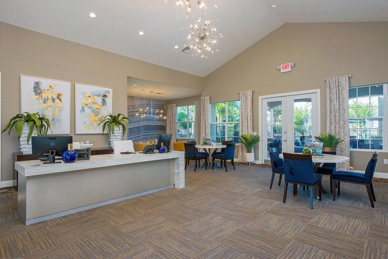 Clubhouse Interior | Enjoy coffee, cookies and our warm staff in our stylish leasing office.