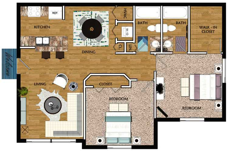 2D | The Majestic contains 2 bedrooms and 2 bathrooms in 900 square feet of living space.