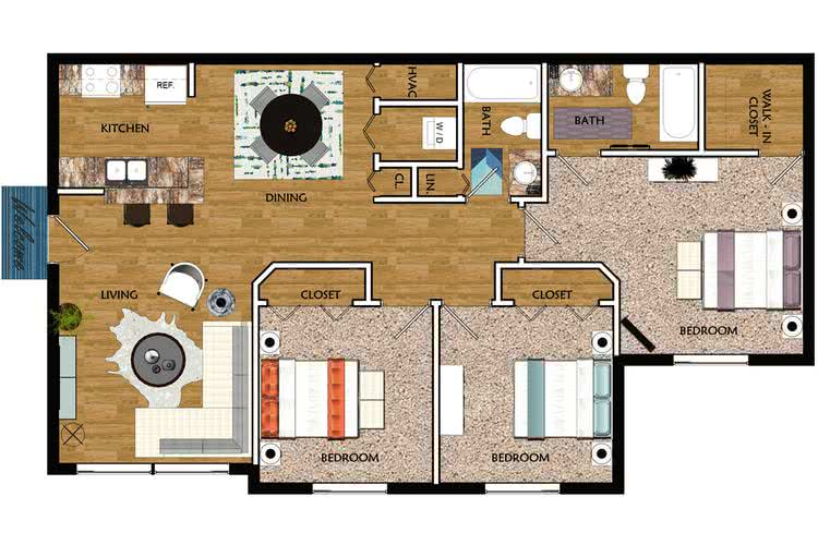2D | The Royal contains 3 bedrooms and 2 bathrooms in 1080 square feet of living space.