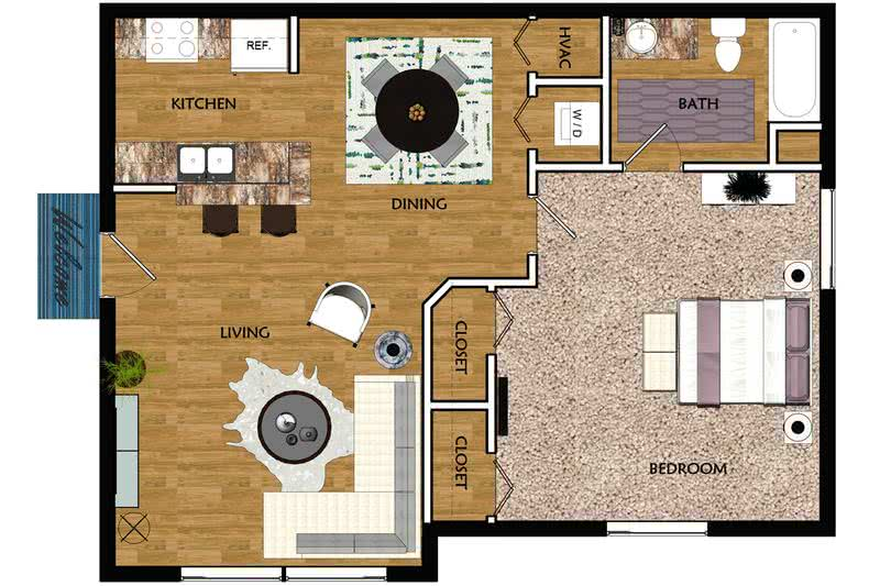 2D | The Sable contains 1 bedroom and 1 bathroom in 650 square feet of living space.
