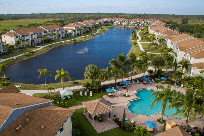 Aerial View of Community | Lexington Palms at the Forum offers residents resort-style amenities and beautiful lakeside living - come home today! We are excited to offer in-person tours while following social distancing and we encourage all visitors to wear a face covering.