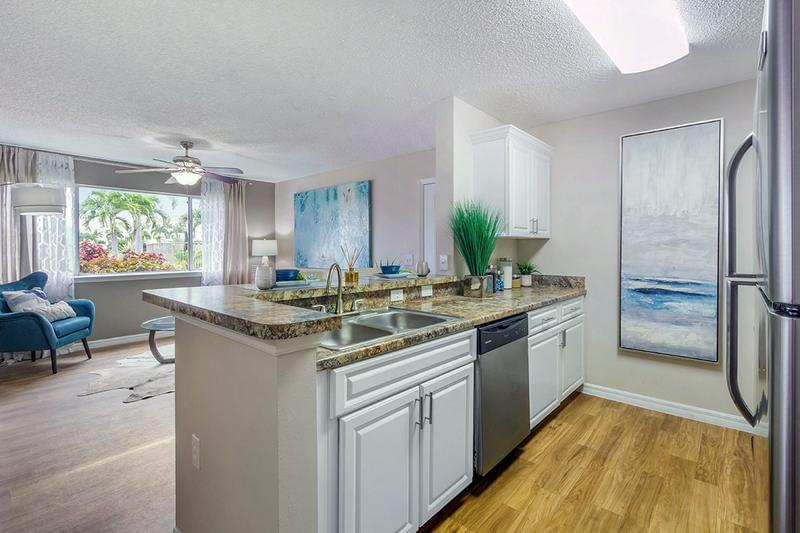 Stainless Steel Appliances | Our newly renovated apartment homes feature stainless steel appliances and a breakfast bar.