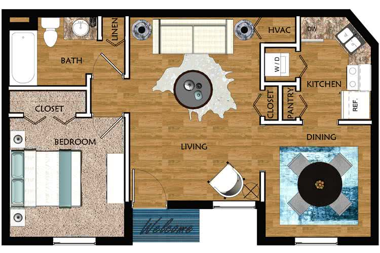 2D | The Breeze contains 1 bedroom and 1 bathroom in 625 square feet of living space.