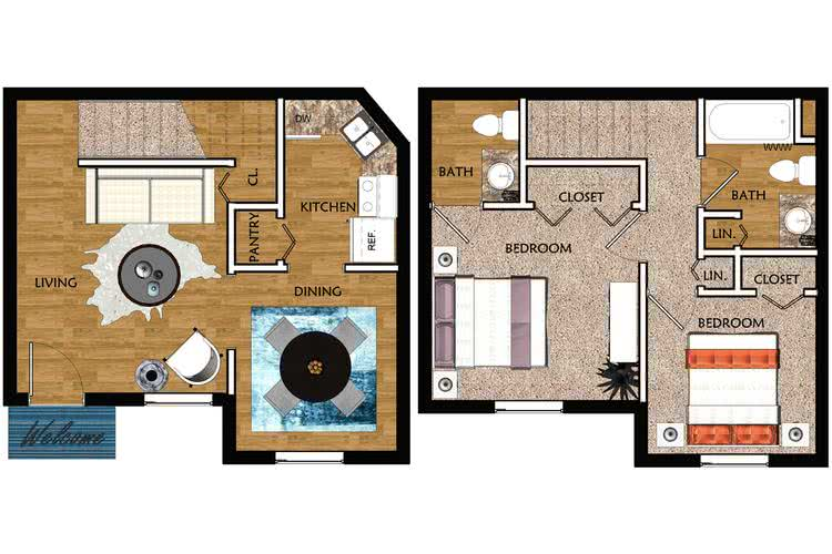 2D | The Palms contains 2 bedrooms and 1.5 bathrooms in 800 square feet of living space.
