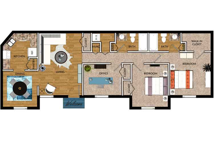 2D | The Wave contains 3 bedrooms and 2 bathrooms in 1000 square feet of living space.