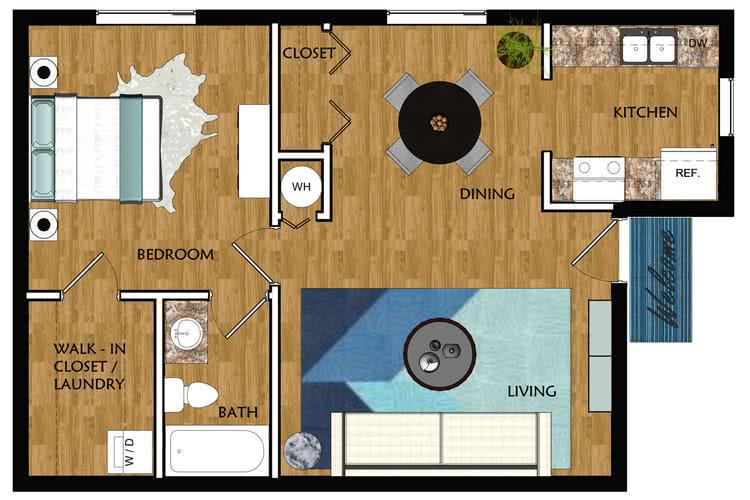 2D | The City contains 1 bedroom and 1 bathroom in 660 square feet of living space.