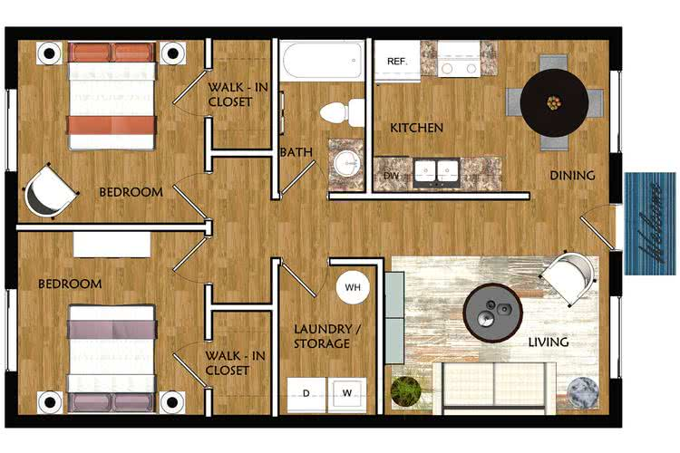 2D | The Cottage contains 2 bedrooms and 1 bathrooms in 760 square feet of living space.