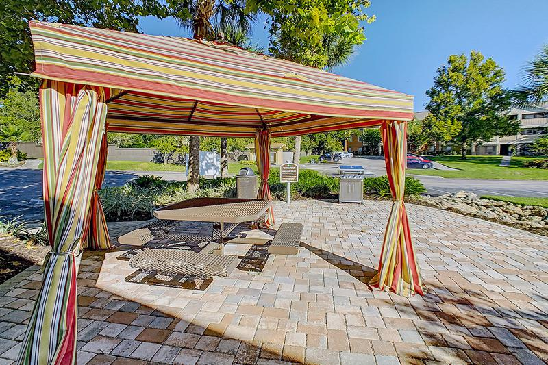 BBQ Area | Residents can gather and grill poolside with fellow Gators and enjoy the Florida sunshine.