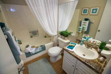 Bathroom | Every bathroom is newly remodeled featuring updated countertops, cabinetry, and wood-style flooring.