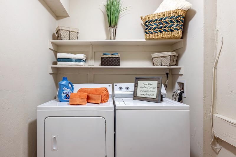 Laundry Room | Every two-bedroom apartment home includes an oversized laundry room and storage area, with full-size washers and dryers INCLUDED!