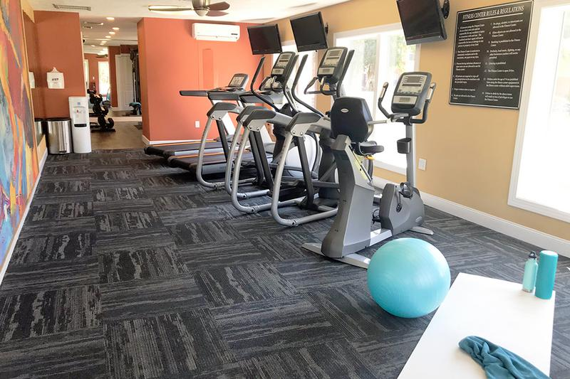 Fitness Center | Get fit in our resident fitness center offering all the cardio and weight training equipment you need for a full body workout.