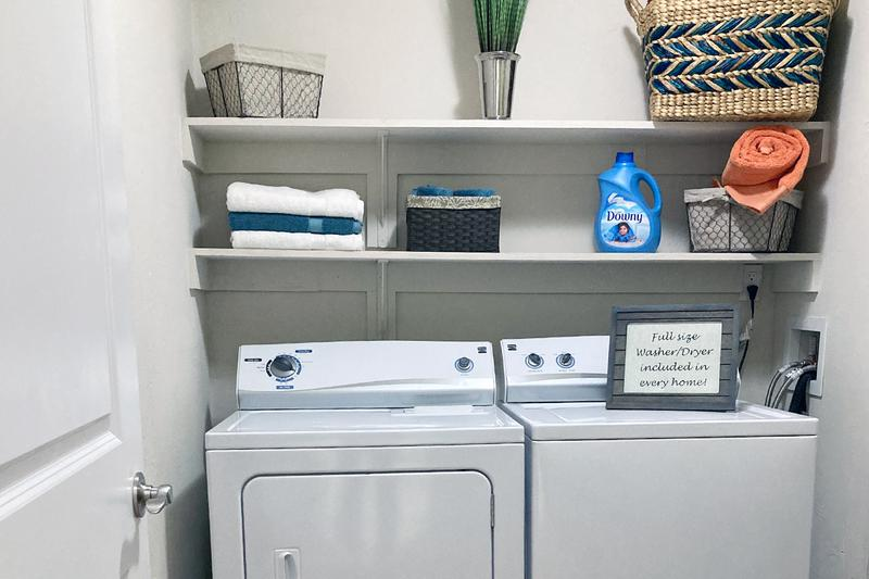 Laundry Room | Every 2-bedroom apartment home includes an oversized laundry room and storage area, with full-size washers and dryers INCLUDED!