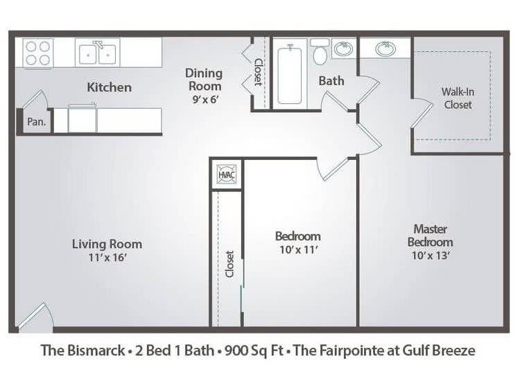 2D | The Bismarck contains 2 bedrooms and 1 bathrooms in 900 square feet of living space.