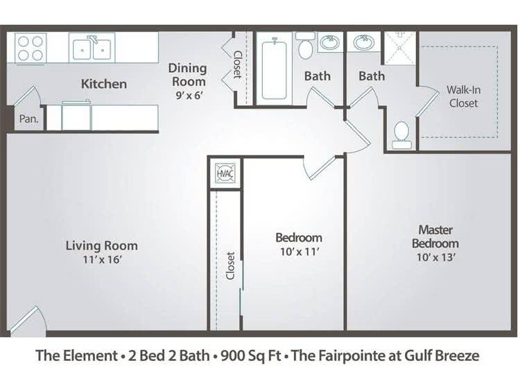 2D |  The Element contains 2 bedrooms and 2 bathrooms in 900 square feet of living space.