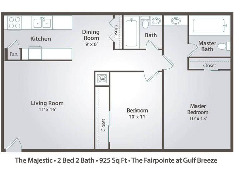 2D | The Majestic contains 2 bedrooms and 2 bathrooms in 925 square feet of living space.