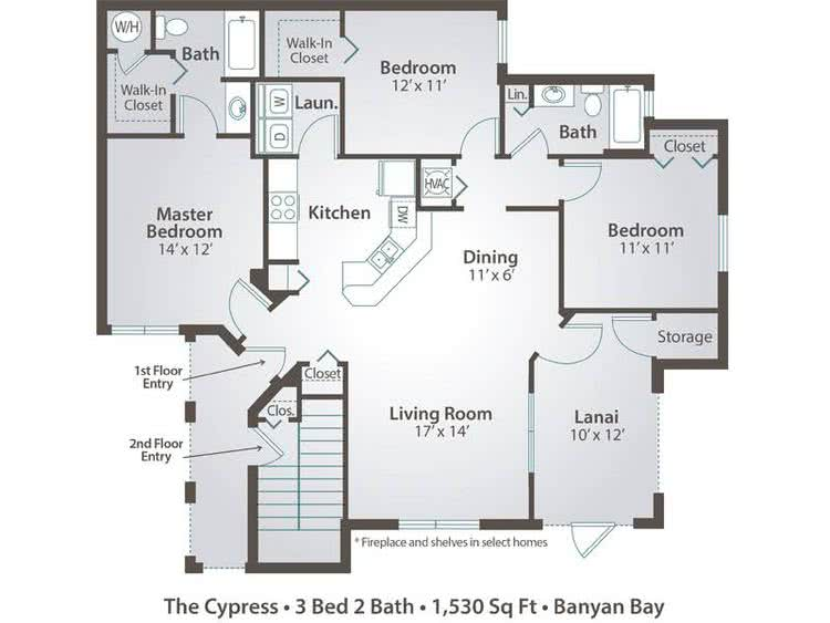 2D |  The Cypress contains 3 bedrooms and 2 bathrooms in 1530 square feet of living space.