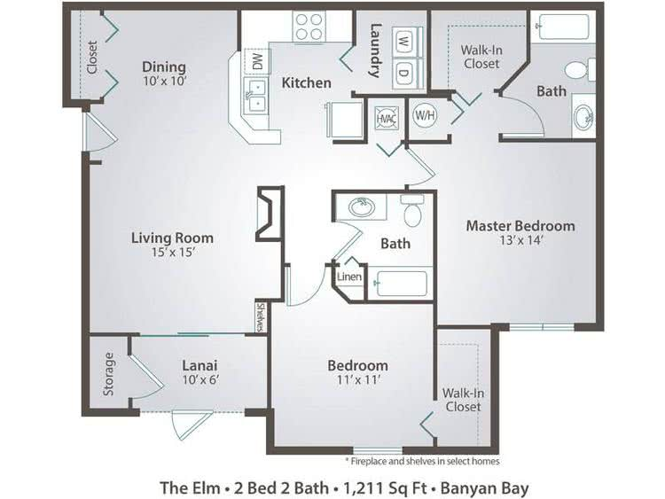 2D |  The Elm contains 2 bedrooms and 2 bathrooms in 1211 square feet of living space.