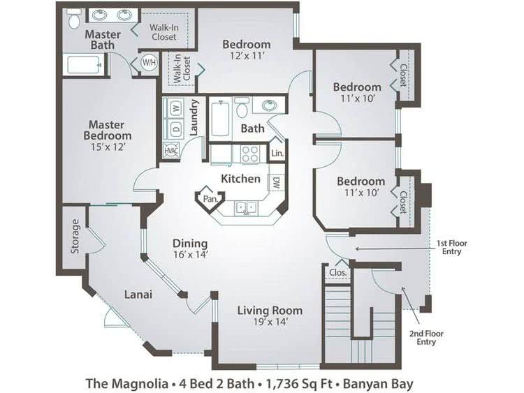 2D |  The Magnolia contains 4 bedrooms and 2 bathrooms in 1736 square feet of living space.