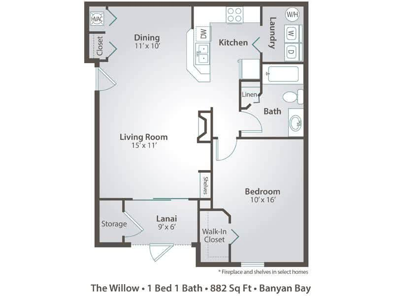 2D |  The Willow contains 1 bedroom and 1 bathroom in 882 square feet of living space.