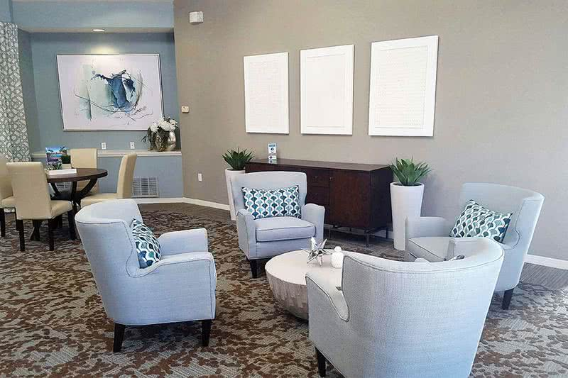 Resident Clubhouse Interior | Come on into the leasing office for some complimentary coffee or just to say hello! Our friendly leasing staff is waiting to help you find your new home!